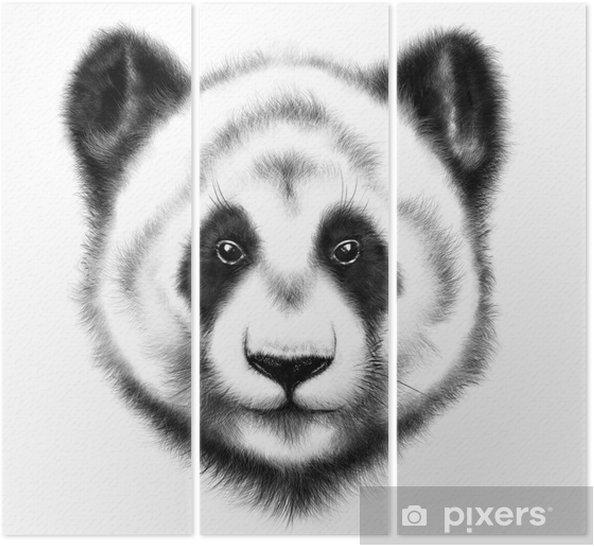 El Cizimi Panda Portresi Uc Parcali Pixers Haydi Dunyanizi