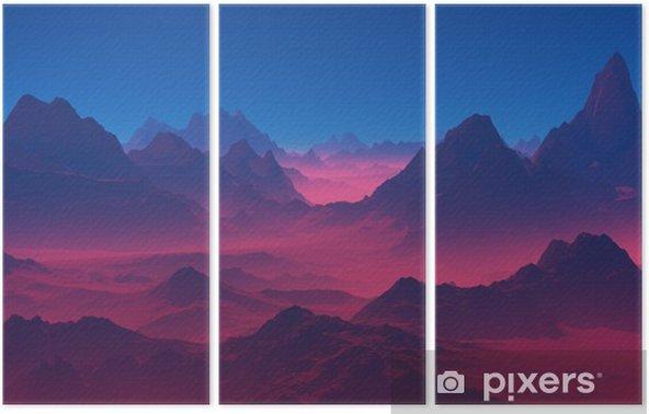 Üç Parçalı Gün batımında dağlar - Manzaralar