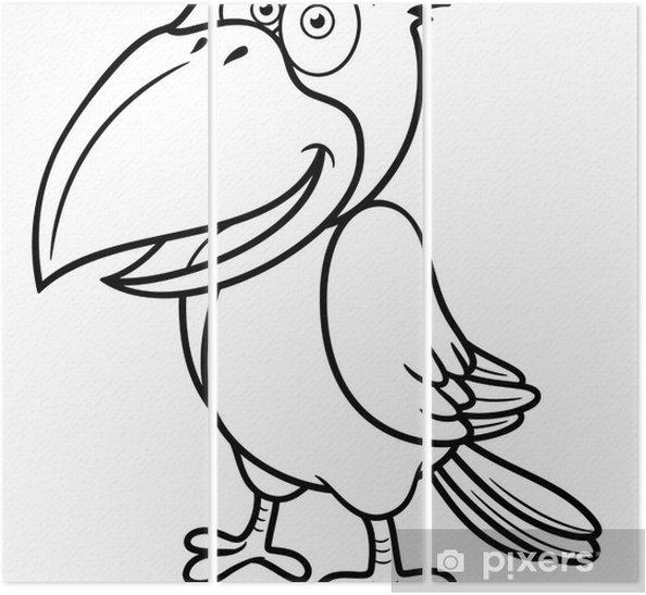 Karikatur Karga Vector Illustration Boyama Kitabi Uc Parcali