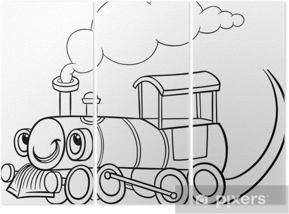 Karikatür Lokomotif Veya Motor Boyama üç Parçalı Pixers Haydi