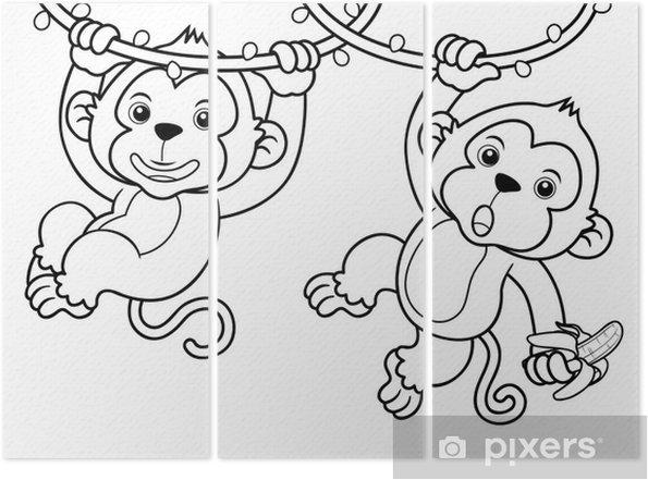 Karikatur Maymun Illustrasyon Kitap Boyama Uc Parcali Pixers