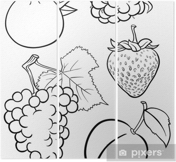 Karikatur Meyve Boyama Kitabi Icin Belirlenen Uc Parcali Pixers