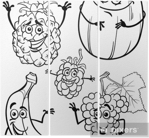 Karikatür Meyve Boyama Kitabı Için Belirlenen üç Parçalı Pixers