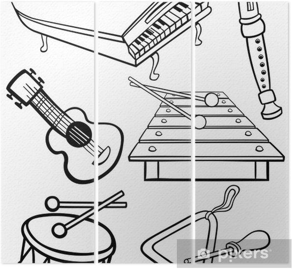 Karikatur Muzik Aletleri Boyama Uc Parcali Pixers Haydi