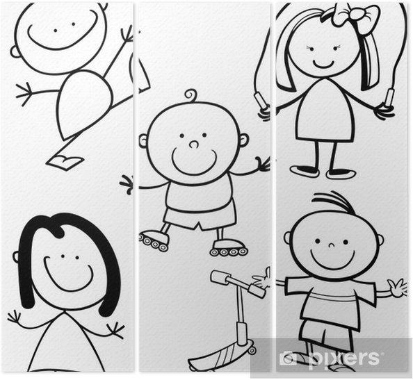 Mutlu Cocuklar Karikatur Boyama Kitabi Uc Parcali Pixers