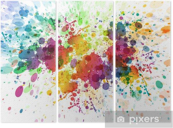 Üç Parçalı Özet renkli sıçrama arka plan raster versiyonu - Hobi ve eğlence