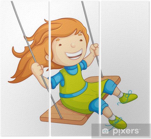 Salıncakta Sallanan Kız Bebek Vektör çizim üç Parçalı Pixers