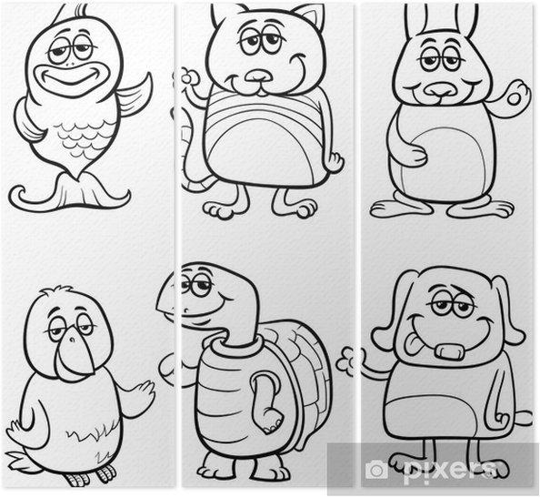 Sevimli Hayvanlar Karikatur Boyama Kitabi Uc Parcali Pixers