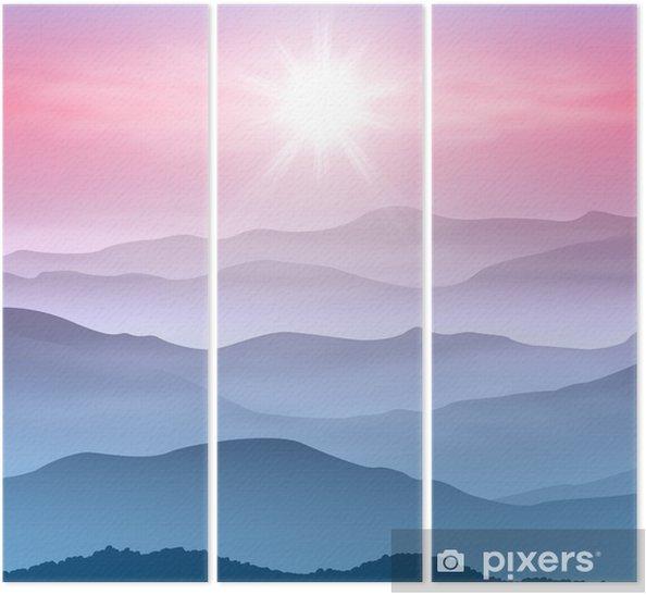 Üç Parçalı Sis güneş ve dağların arka plan - Dağlar