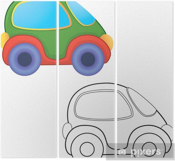 Vektör Oyuncak Araba Boyama Kitabı üç Parçalı Pixers Haydi