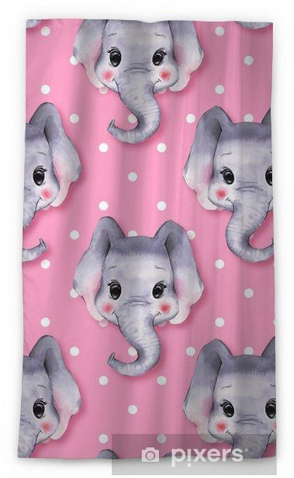 Verduisterend gordijn Aquarel olifant. leuke cartoon illustratie, geïsoleerd op witte achtergrond 7 - Grafische Bronnen