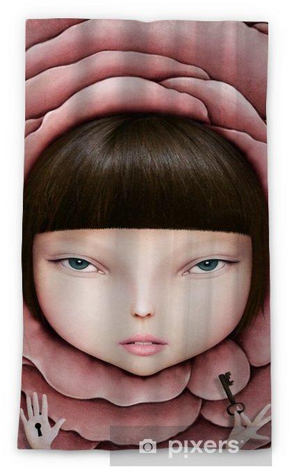 Verduisterend gordijn Conceptuele illustratie of poster met het hoofd van het meisje in roze bloemblaadje met de sleutel in zijn hand. - Hobby's en Vrije tijd