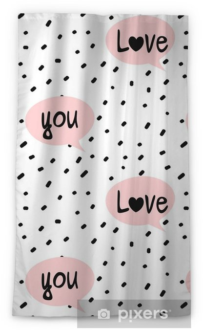 Verduisterend gordijn Hand getrokken zwarte confetti op witte achtergrond eenvoudige abstracte naadloze vector patroon illustratie met roze tekstballonnen en hou van je belettering tekst - Grafische Bronnen