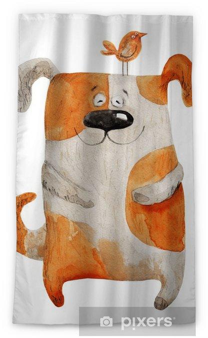 Verduisterend gordijn Hond lachend met vogel. aquarel illustratie - Grafische Bronnen