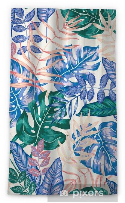 Verduisterend gordijn Naadloze grafische artistieke tropische natuur jungle patroon, moderne stijlvolle gebladerte achtergrond allover print met split blad, philodendron, palmblad, fern varenblad - Grafische Bronnen