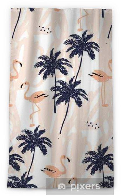 Verduisterend gordijn Palmbomen silhouet en blush roze flamingo op de witte achtergrond met beroertes. Vector naadloze patroon met tropische vogels en planten. - Dieren