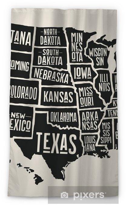 Verduisterend gordijn Poster kaart van de Verenigde Staten van Amerika met de namen van de staat. zwart-wit afdrukken kaart van de VS voor t-shirt, poster of geografische thema's. handgetekende zwarte kaart met staten. vectorillustratie - Grafische Bronnen