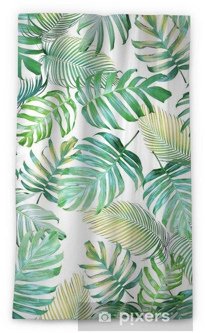 Verduisterend gordijn Tropische bladeren naadloze patroon van monstera philodendron en palm bladeren in licht groen-gele kleurtoon, tropische achtergrond. - Grafische Bronnen