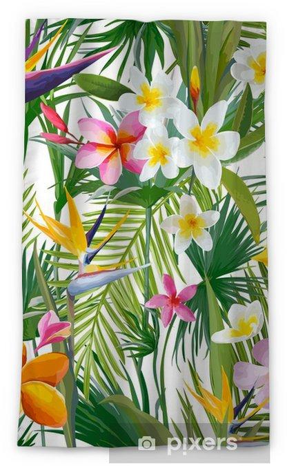 Verduisterend gordijn Tropische palmbladeren en bloemen, jungle bladeren naadloze vector bloemmotief achtergrond - Bloemen en Planten