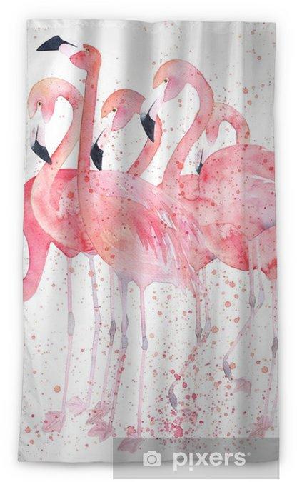 Verduisterend gordijn Waterverfflamingo's met plons. schilderij afbeelding - Dieren