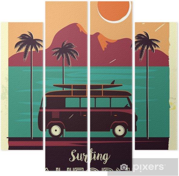 Vierluik Grunge retro metalen bord met palmbomen en busje. surfen in Californië. vintage reclameposter. ouderwets ontwerp - Landschappen