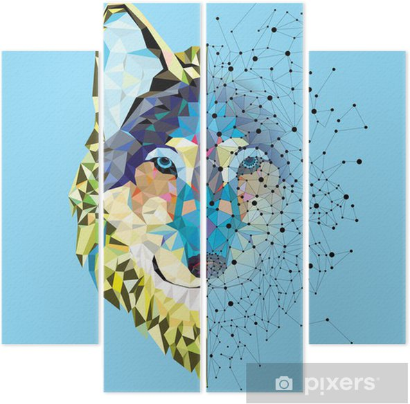 Vierluik Hoofd van de wolf in geometrische patroon met ster lijn vector - Zoogdieren