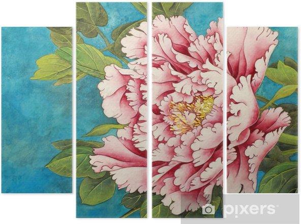 Vierluik Roze pioen op een blauwe achtergrond - Bloemen en Planten