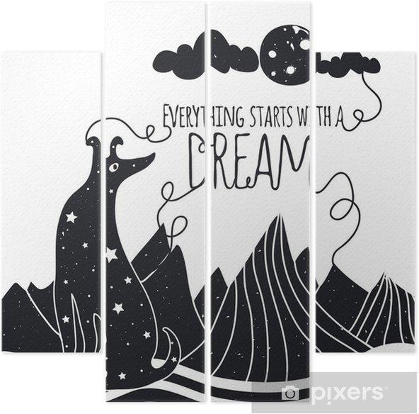 Vierluik Schattige romantische vector illustratie met hond kijkt naar de maan. Alles begint met een droom. Sterren, bergen en wolken. - Dieren