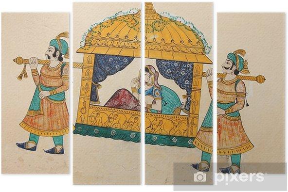 Vierluik Traditionele oude muurschildering van Indiase vrouw genomen - Gebouwen en Architectuur