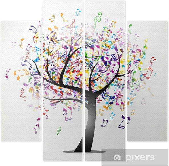 Vierluik Vector illustratie van een abstracte achtergrond met muziek noten -