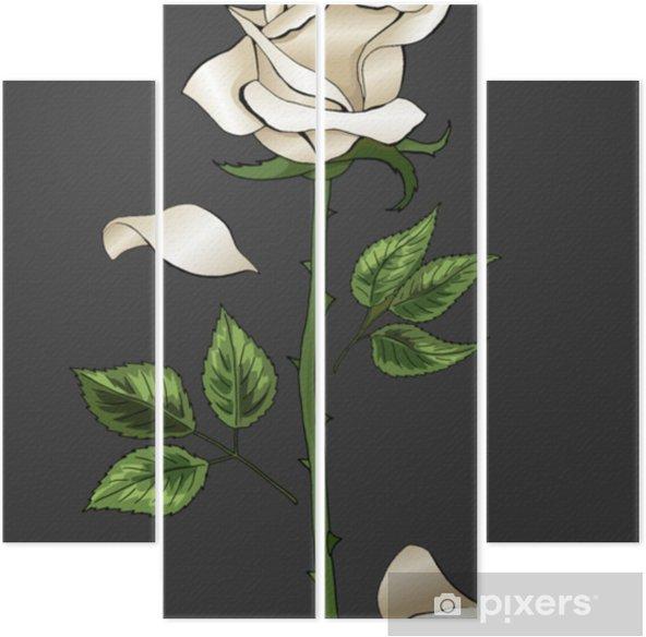 Vierluik Witte roos elegante enkele bloem op donker grijze achtergrond vector sjabloon - Religie en Cultuur