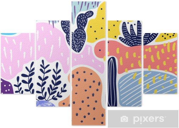 Vijfluik Creatieve geometrische kleurrijke achtergrond met patronen. collage. ontwerp voor prints, posters, kaarten, etc. vector. - Grafische Bronnen