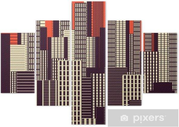 Vijfluik Een drie kleuren grafische abstracte stedelijke landschap poster in oranje en bruin - Landschappen