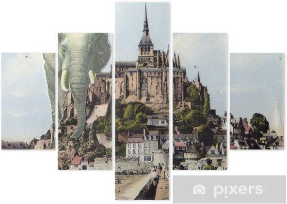 Vijfluik Franse antieke vintage collage. - Grafische Bronnen