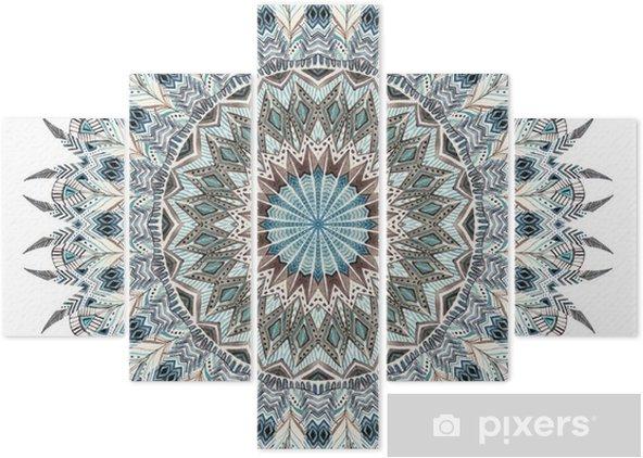 Vijfluik Waterverfsamenvatting mandala met gestileerde veren - Grafische Bronnen