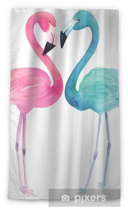 Zasłona okienna nieprzepuszczająca światła Akwarela dwa flamingi na białym tle. ręcznie rysowane ilustracji - Zwierzęta