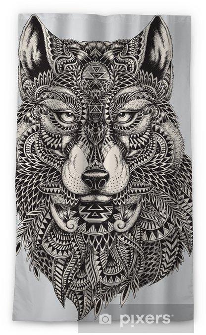 Zasłona okienna nieprzepuszczająca światła Bardzo szczegółowe streszczenie ilustracji wilka - Style