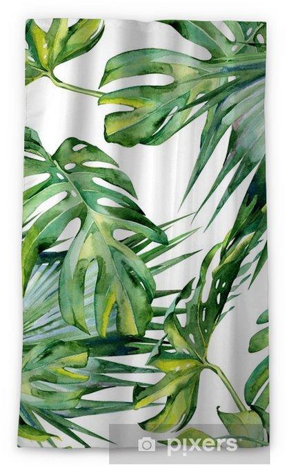 Zasłona okienna nieprzepuszczająca światła Bez szwu akwarela ilustracja tropikalnych liści, gęsta dżungla. malowane ręcznie. banner z motywem tropic summertime może być używany jako tekstura tła, papier pakowy, tekstylny lub tapetowy. - Rośliny i kwiaty