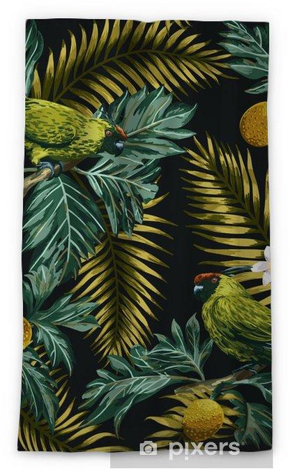 Zasłona okienna nieprzepuszczająca światła Bezszwowe tropikalny wzór z liści, kwiatów i papugi. - Zwierzęta