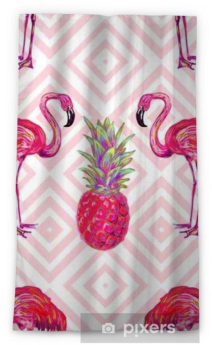 Zasłona okienna nieprzepuszczająca światła Bezszwowych letnich tropikalnych deseń z flamingo i ananasów wektora tła. Idealny do tapet, wypełnień wzorców, tła strony internetowej, tekstury powierzchni, tekstyliów - Zwierzęta