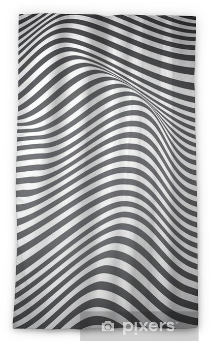 Zasłona okienna nieprzepuszczająca światła Czarno-białe zakrzywione linie, fale powierzchniowe, vector design - Zasoby graficzne