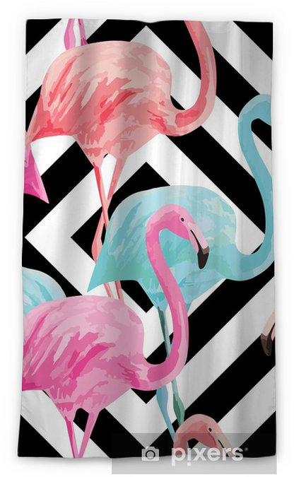 Zasłona okienna nieprzepuszczająca światła flamingo watercolor pattern, geometric background - Ptaki