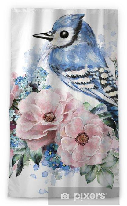 Zasłona okienna nieprzepuszczająca światła Kwiaty akwarelowe, podniosły się wraz ze mną i niebieską sójką. ilustracja kwiatowa, w pastelowych kolorach. gałąź kwiatów na białym tle. liść i pąki. skład dla karty z pozdrowieniami. plusk farby - Rośliny i kwiaty