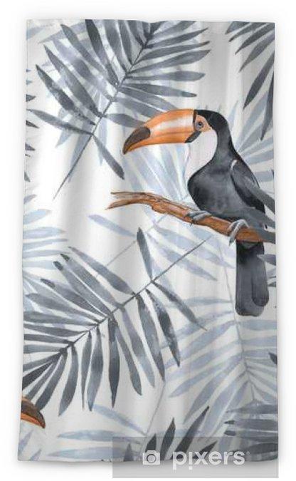Zasłona okienna nieprzepuszczająca światła Liście palmowe i tukan. akwarela bezszwowe wzór 2 - Zasoby graficzne