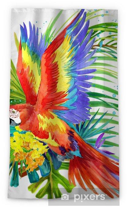 Zasłona okienna nieprzepuszczająca światła Papuga ptak akwarela ilustracja. tropikalny kwiat tło. natura raju. projekt koszulki - Zwierzęta