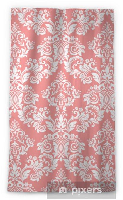 Zasłona okienna nieprzepuszczająca światła Tapeta w stylu barokowym. bezszwowe tło wektor. biały i różowy kwiatowy ornament. graficzny wzór tkaniny, tapety, opakowania. ozdobny kwiat adamaszku - Zasoby graficzne