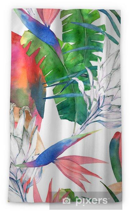 Zasłona okienna nieprzepuszczająca światła Tropikalny wzór z papugi, protea i liści. druk lato akwarela. egzotyczna ręka rysująca ilustracja - Zasoby graficzne