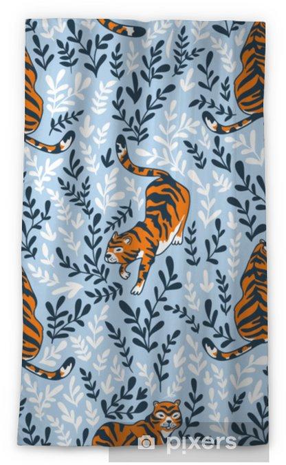 Zasłona okienna nieprzepuszczająca światła Wektor wzór z tygrysami na tle kwiatów. tło zwierzęce do projektowania tkaniny lub tapety boho. - Zasoby graficzne