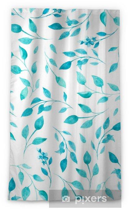 Zasłona okienna nieprzepuszczająca światła Wzór akwarela niebieskie i zielone liście i kwiaty - Rośliny i kwiaty