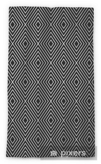 Zasłona okienna przepuszczająca światło Abstrakcyjne geometryczne diamond szwu w czerni i bieli - Tła